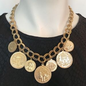 Jewelry - Gold Coin Charm Dangle Necklace Double Links VTG18